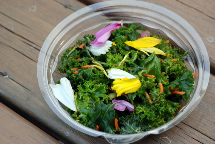 Green Zebra Kitchen - Kale Salad with Pumpkin Seeds, Edible Flowers, and Lime Vinaigrette