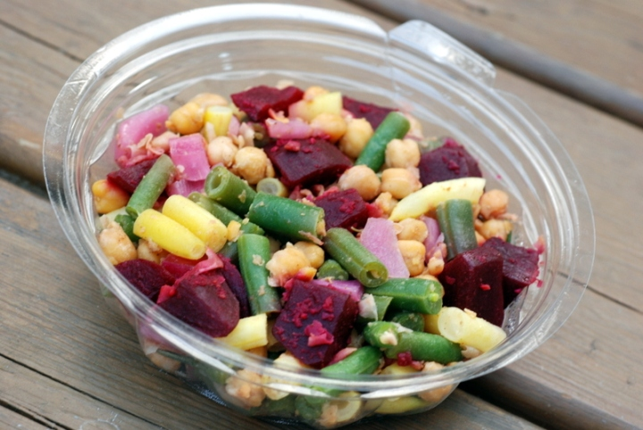 Green Zebra Kitchen - Yellow and Green Bean Salad with Beets, Roasted Chickpeas, and Italian Vinaigrette