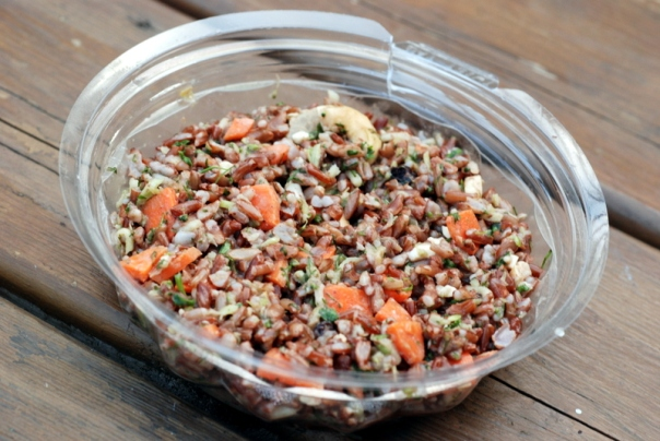 Green Zebra Kitchen - Red Rice Salad with Shredded Broccoli, Carrots, Cashews, Cilantro, and  Miso Ginger Dressing