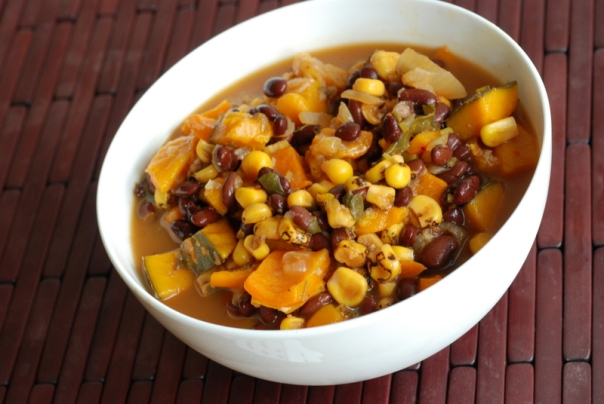 Three Sisters Soup (Black Bean, Corn and Squash Soup)