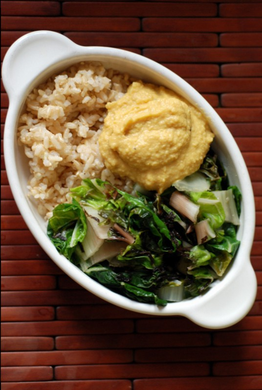 Lemon-Miso Macro Bowl with Miso-Braised Swiss Chard and Lemon Chickpea Dressing