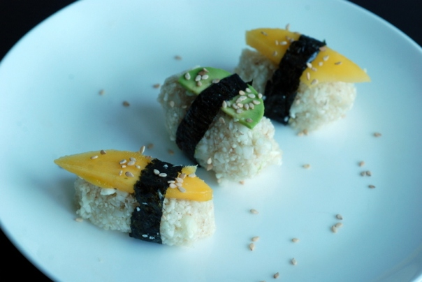 Raw Cauliflower Nigiri Sushi