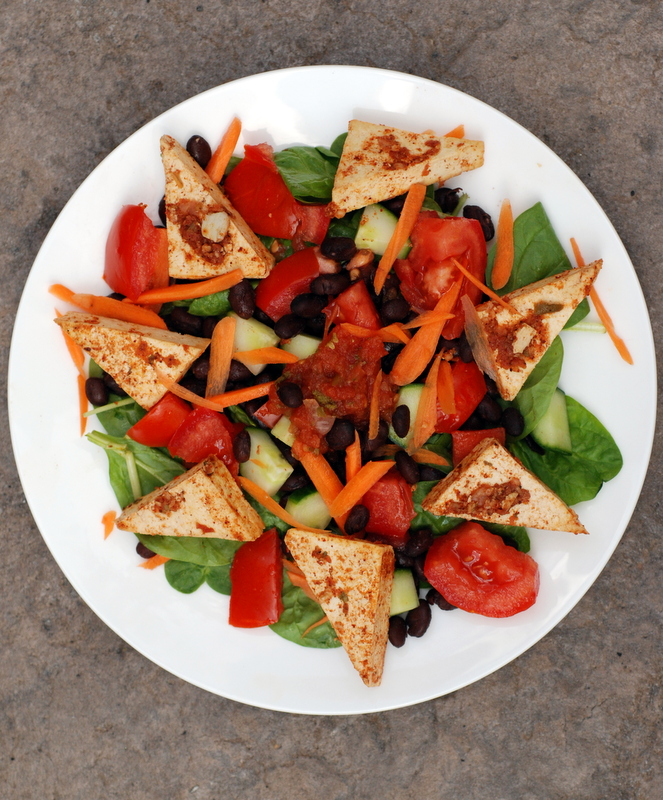 Mexican Spinach Salad with Salsa Baked Tofu Recipe