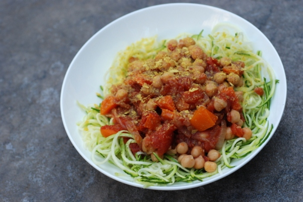 Classic Pasta Arrabiata with Chickpeas and Zucchini Noodles