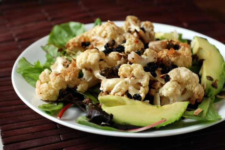 Roasted Cauliflower Salad with Fried Capers and Pickled Currants