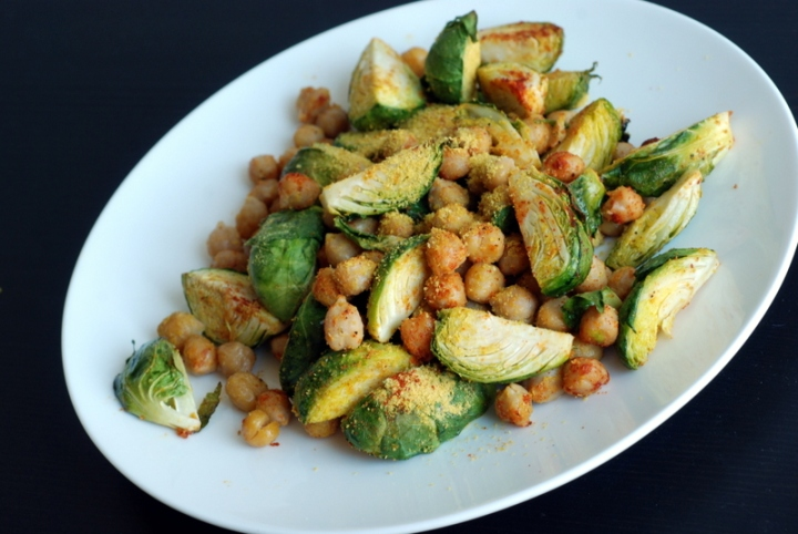 Roasty Smoky Brussels Sprouts with Chickpeas