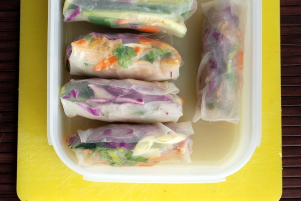 Sesame Carrot Rice Paper Rolls with Peanut-Orange Sauce