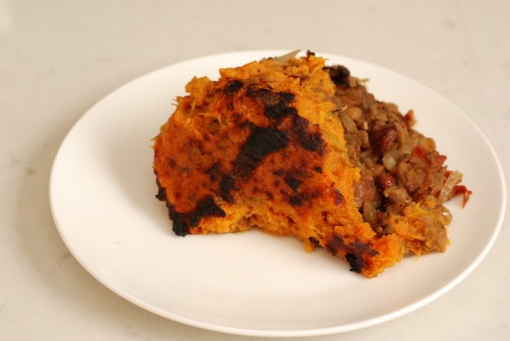 Sweet Potato Vegan Shepherd's Pie with Coconut Whipped Sweet Potatoes