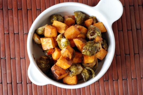 Kristy's Balsamic-Maple Brussels Sprouts and Sweet Potatoes