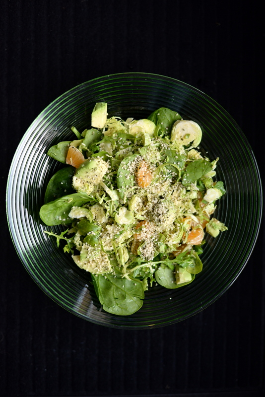 Shaved Brussels Sprout Salad with Hemp and Orange