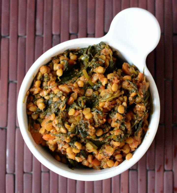 Yellow Split Chickpeas with Spinach (Chana Dal Sat-Bhaji)
