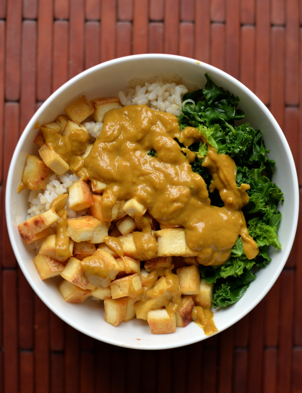 Tofu and Kale Bowl with a Curried Peanut Sauce