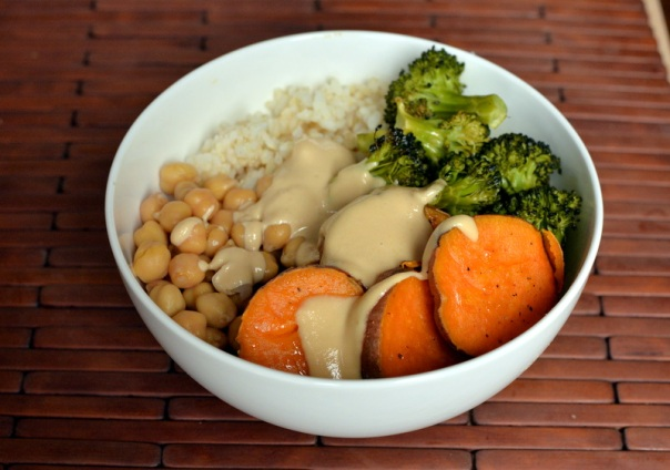 Sweet Potato and Broccoli Bowl with a Miso-Sesame Sauce