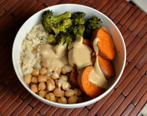 Sweet Potato and Broccoli Bowl with a Miso-Sesame Sauce