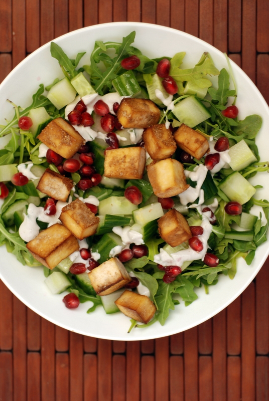 Smoky Tofu and Pomegranate Arugula Salad