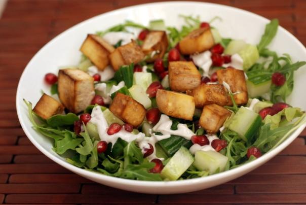 Smoky Tofu and Pomegranate Arugula Salad