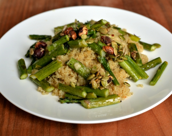 Sweet and Salty Tahini Asparagus and Quinoa Salad
