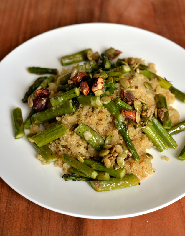 Sweet and Salty Tahini Asparagus and Quinoa Salad | the taste space
