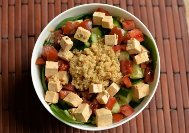 Greek Quinoa Salad with Tofu Feta