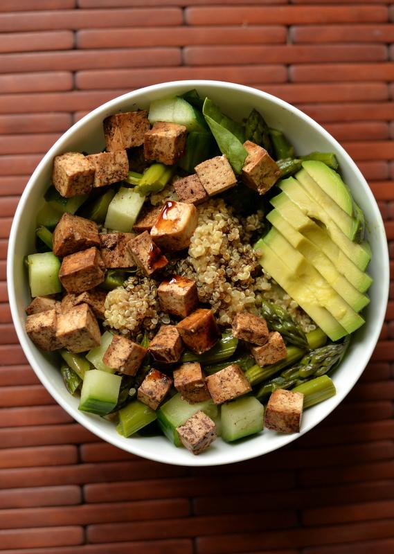 Vegan Protein Bomb Salad (aka Balsamic Asparagus Quinoa Salad with Baked Tofu)