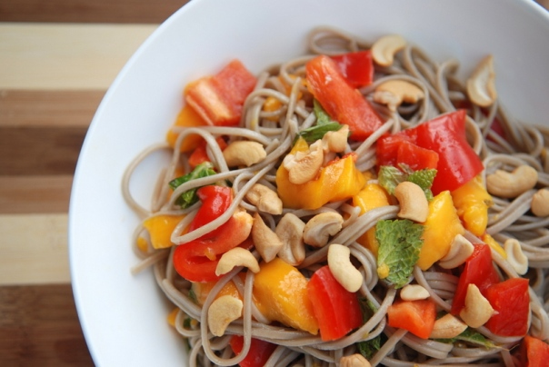 Soba Noodle Salad with Mango, Red Pepper and Mint