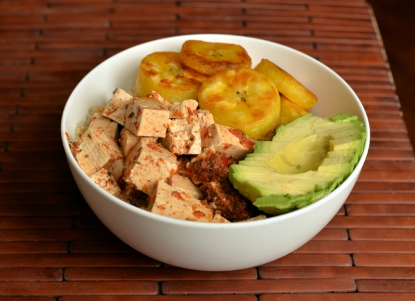 Jerk Tofu and Fried Plantains with Quinoa and Avocado