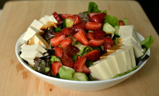 Fresh Tofu and Strawberry Salad with Mosto Cotto