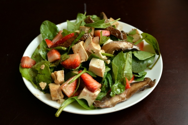 Portobello Carpaccio, Tofu and Strawberry Spinach Salad