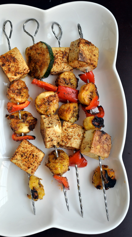 Jamaican Spiced Plantain and Tofu Skewers