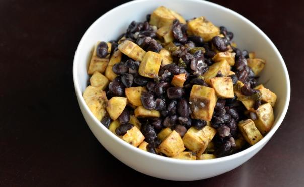 Mojito-Dressed Roasted Plantain and Black Bean Salad