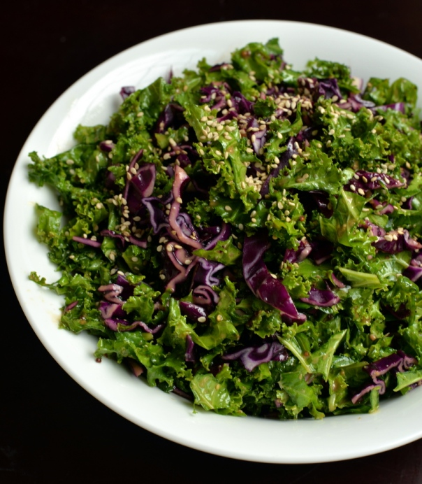 Maple-Miso Kale and Cabbage Slaw
