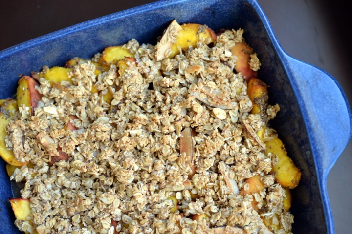 Peach Chia Crumble with an Almond-Coconut Topping