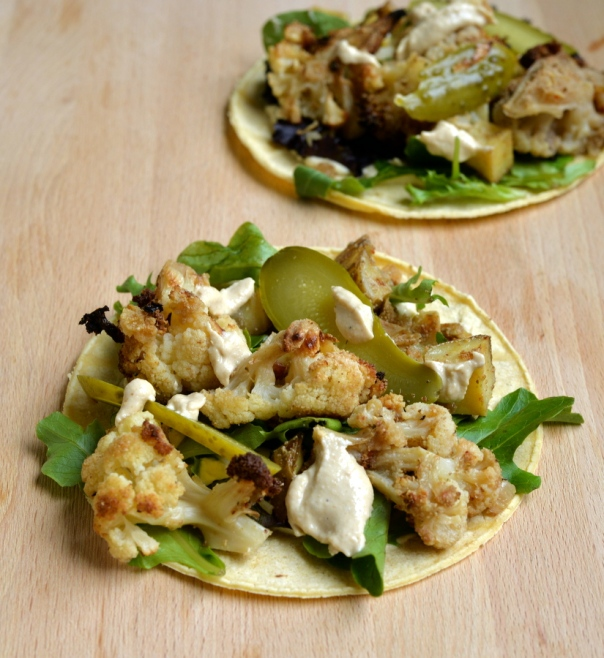 Middle Eastern Cauliflower and Hummus Tacos with a Tahini-Cumin Dressing