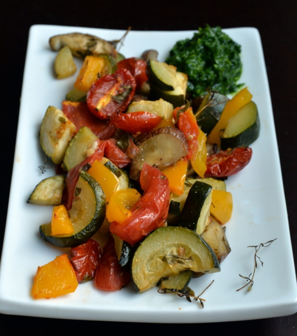 Roasted Ratatouille with Basil Pistou