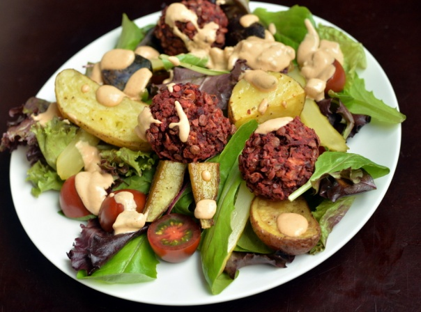 Beet Balls and Roasted Potato Salad with a Thousand Island Dressing