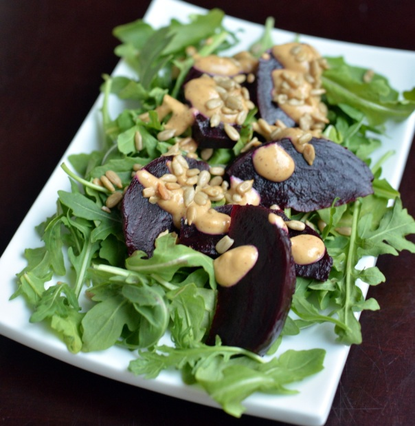 Beet Carpaccio Salad with Arugula and Miso Dressing + Roberto's New Vegan Cooking GIVEAWAY