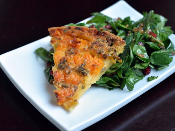 Butternut Squash Farinata with Arugula Salad and Pomegranate Vinaigrette + Crossroads Cookbook Review