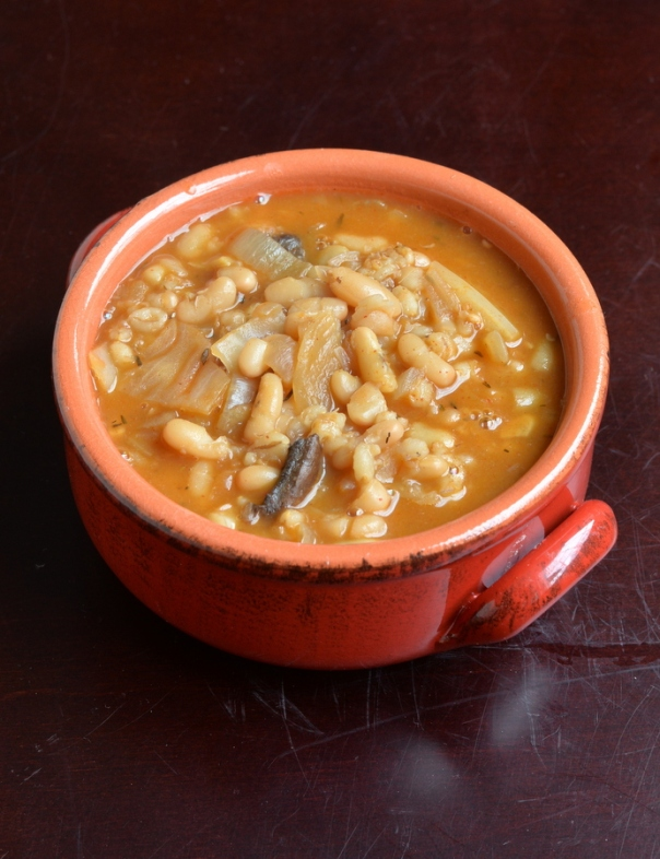 Rustic White Bean Soup with Cabbage