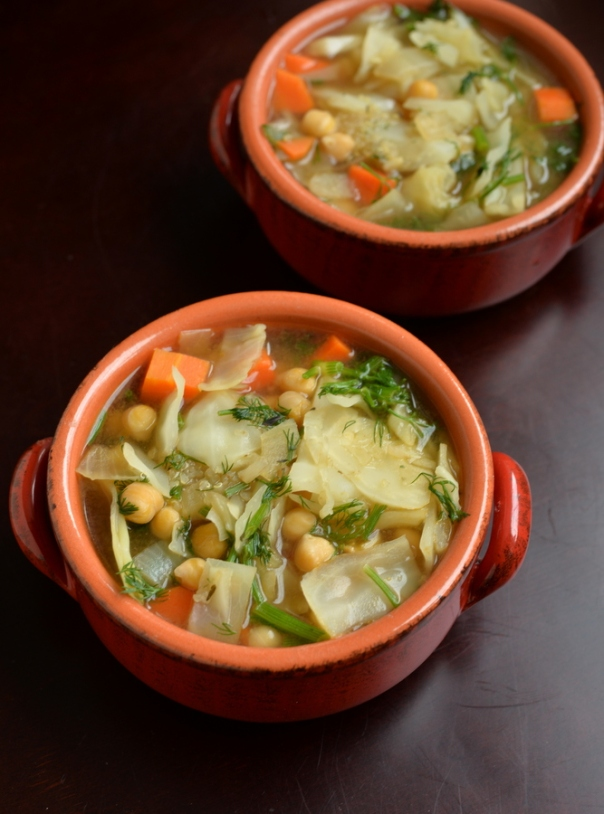 Chickpea Cabbage Soup with Dill