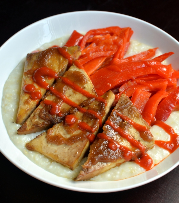 Maple-Sriracha Tofu with Roasted Red Peppers & Creamy Grits