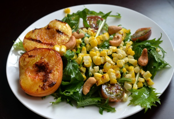 Grilled Peach Salad with Mizuna