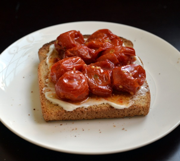 Quick Roasted Tomatoes on Toast