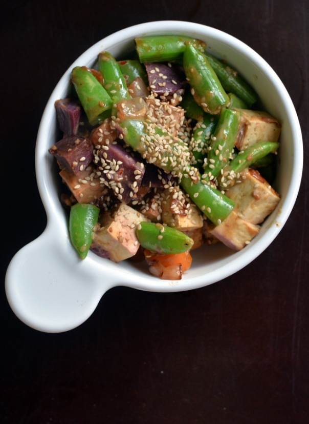 Sassy Sesame Tofu  with Sweet Potato, Carrots, and Sugar Snap Peas