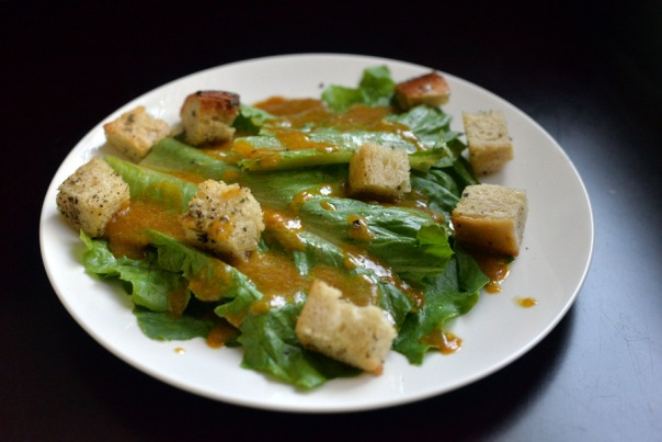 Pumpkin Caesar Salad with Sourdough Sage Croutons