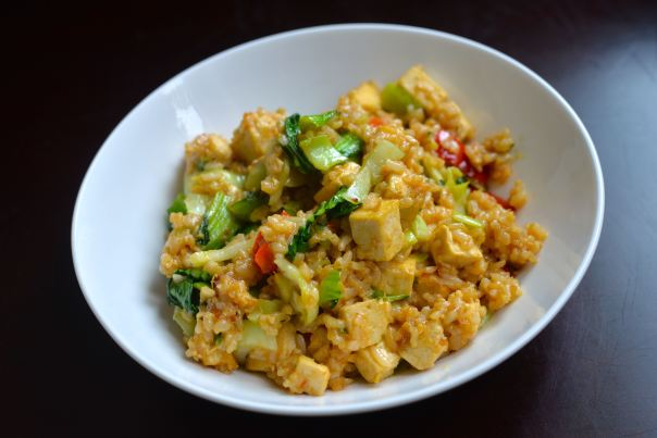 Miso Fried Rice with Baby Bok Choy