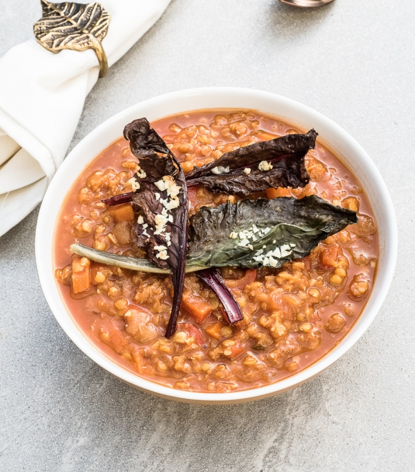 Red Lentil Soup with Roasted Garlic Chard