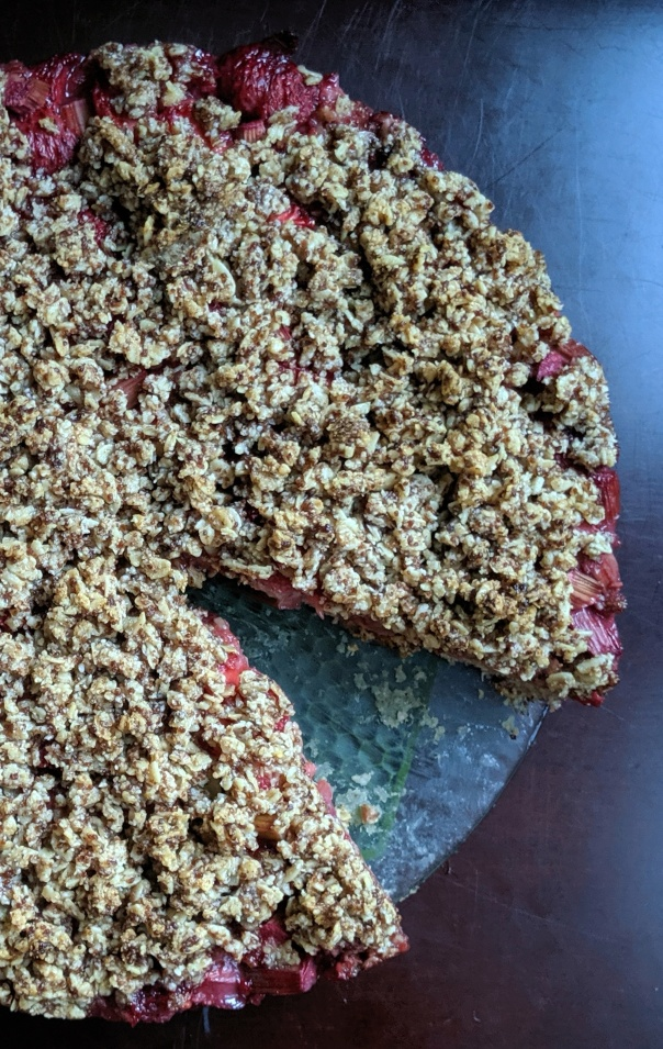 Strawberry Rhubarb Crumble Cake (Gluten-Free, Vegan)